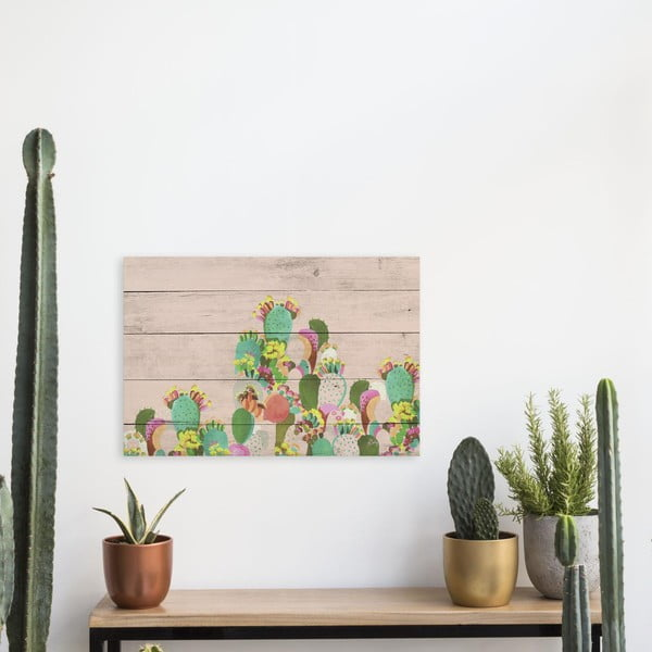 Drewniana tablica Really Nice Things Cactus, 40x60 cm