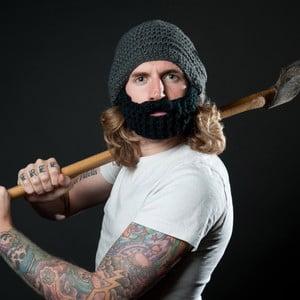 Ciemnoszara czapka z odpinaną brodą Beardo Original