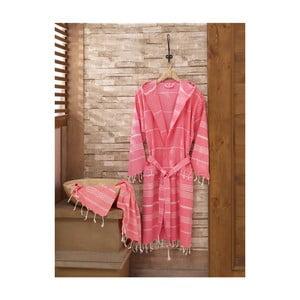 Komplet różowego szlafroka i ręcznika Sultan Pink, rozmiar S/M