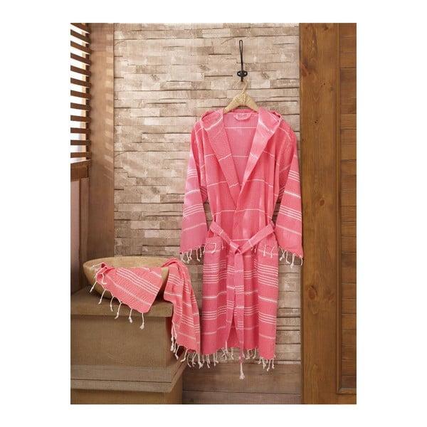 Komplet szlafroka i ręcznika Sultan Pink, rozmiar L/XL