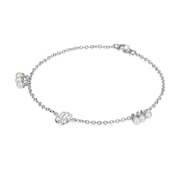 Srebrna   bransoletka z perłami i zawieszką Chakra Pearls, 21 cm