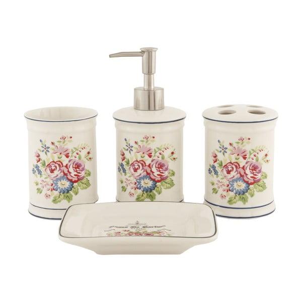 Zestaw 4 pojemników łazienkowych Floral