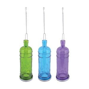 Zestaw 3 świeczników wiszących Esschert Design Bottle