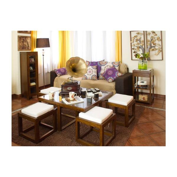 Stolik z 4 stołkami z drewna mindi Santiago Pons Abirad