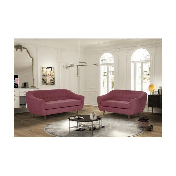Czerwonoróżowy zestaw 2 sof dwuosobowej i trzyosobowej Jalouse Maison Vicky