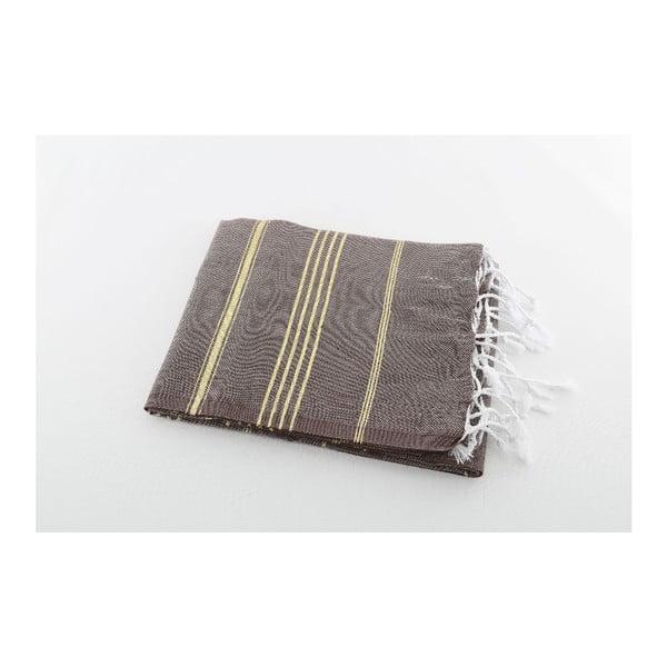 Ręcznik hammam Sultan Brown Gold, 100x180 cm