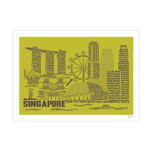 Plakat Singapore Green&Grey, 50x70 cm