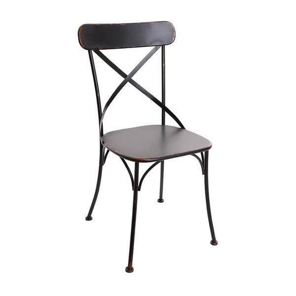 Czarne krzesło metalowe InArt Antique