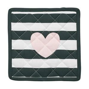 Zestaw 2 łapek kuchennych Miss Étoile Heart Rose Black Stripes, 21x21 cm