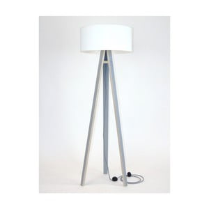 Szara lampa stojąca z białym abażurem i czarno-białym kablem Ragaba Wanda