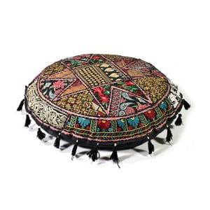 Poduszka do siedzenia wyszywana ręcznie Radżastan, czarna