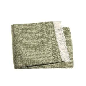 Olivově zelený pléd s podílem bavlny Euromant Skyline, 140x180cm