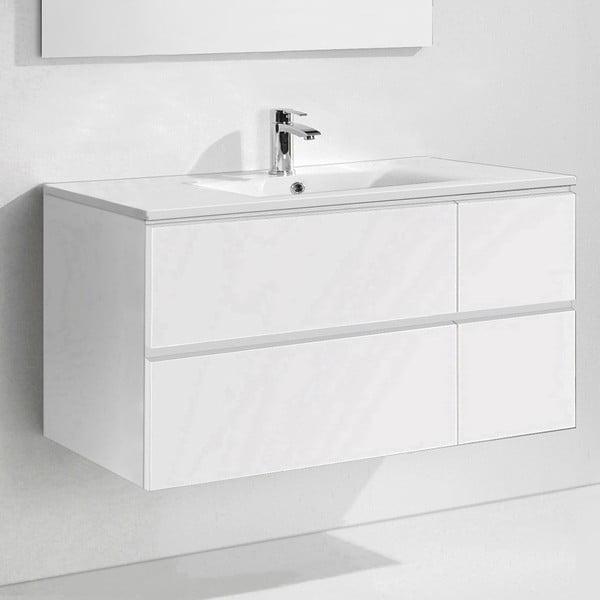 Szafka do łazienki z umywalką i lustrem Capri, odcień bieli, 120 cm