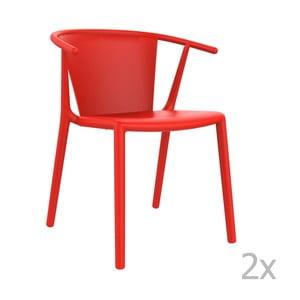 Zestaw 2 czerwonych krzeseł ogrodowych Resol steely