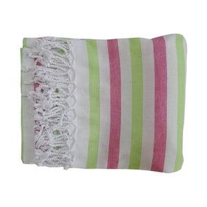 Fioletowo-zielony ręcznik kąpielowy tkany ręcznie z wysokiej jakości bawełny Homemania Afrika Hammam,100x180 cm