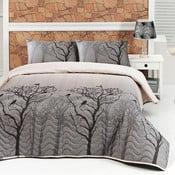 Pikowana narzuta z poszewkami na poduszki Bird, 200x220 cm
