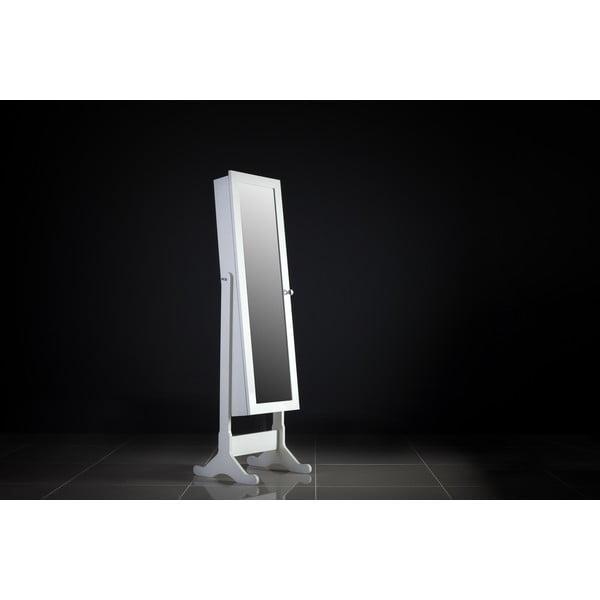 Zamykane lustro stojące ze schowkiem Celine, białe
