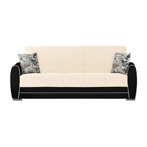 Beżowo-czarna trzyosobowa sofa rozkładana ze schowkiem Esidra Rest