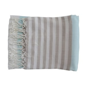 Jasnoniebieski ręcznie tkany ręcznik z bawełny premium Melis,100x180 cm