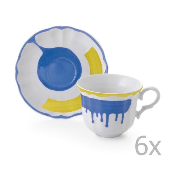 Zestaw 6 filiżanek z podstawką Giotto Yellow/Blue