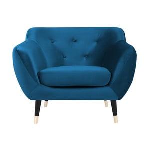 Niebieski fotel z czarnymi nogami Mazzini Sofas Amelie