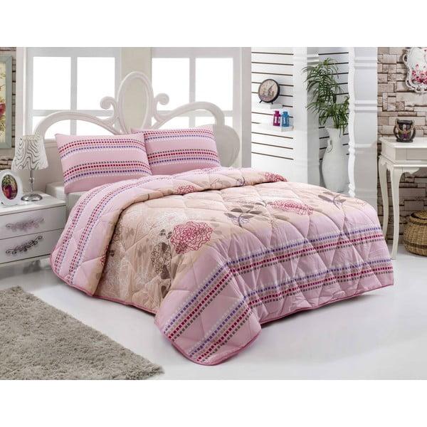 Narzuta pikowana na łóżko jednoosobowe Bukle Salmon, 155x215 cm