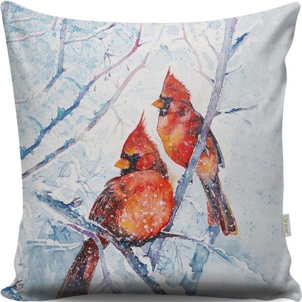 Poduszka z ptaszkami Winter, 43x43cm