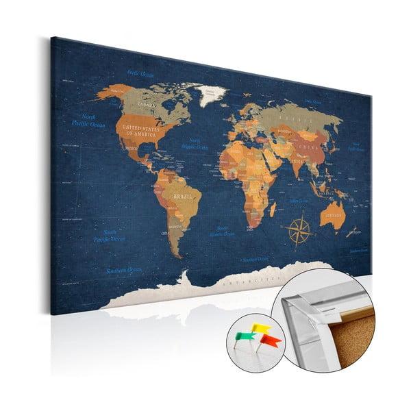 Tablica z mapą świata Bimago Ink Oceans 90x60 cm