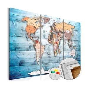 Tablica z mapą świata Artgeist Sapphire Travels 120x80 cm