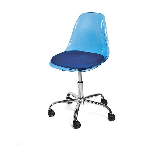 Krzesło biurowe na kółkach Plato, niebieskie
