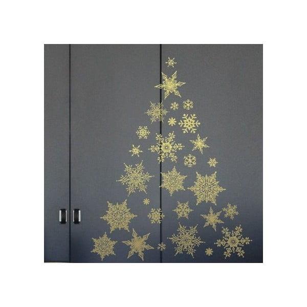 Zestaw 30 naklejek świątecznych Fanastick Gold Snow Flakes