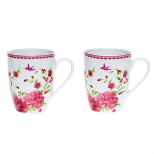 Porcelanowy kubek Pink Rose, 300 ml