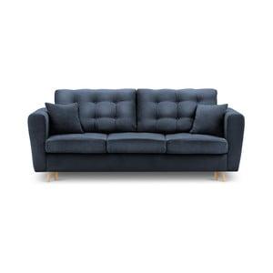 Niebieska rozkładana sofa ze schowkiem Kooko Home Highlife