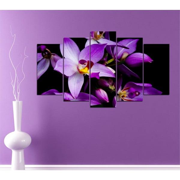 5-częściowy obraz Fioletowa orchidea