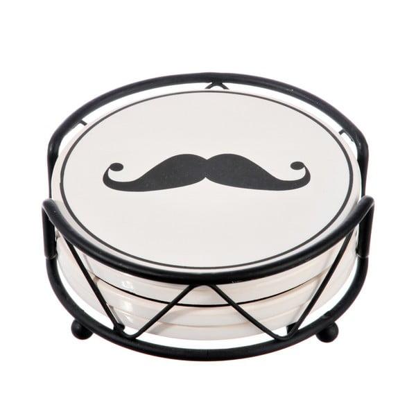 Zestaw 4 podstawek Mustache ze stojakiem
