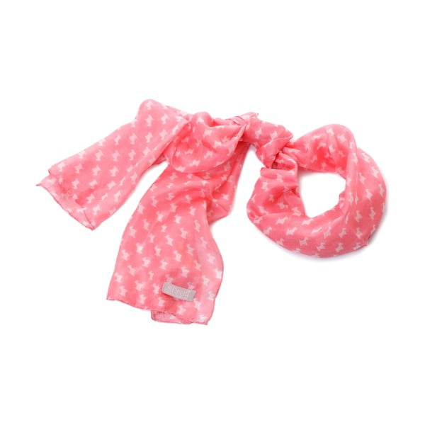 Szalik Pastel Scottie Hot Pink, 180x32 cm