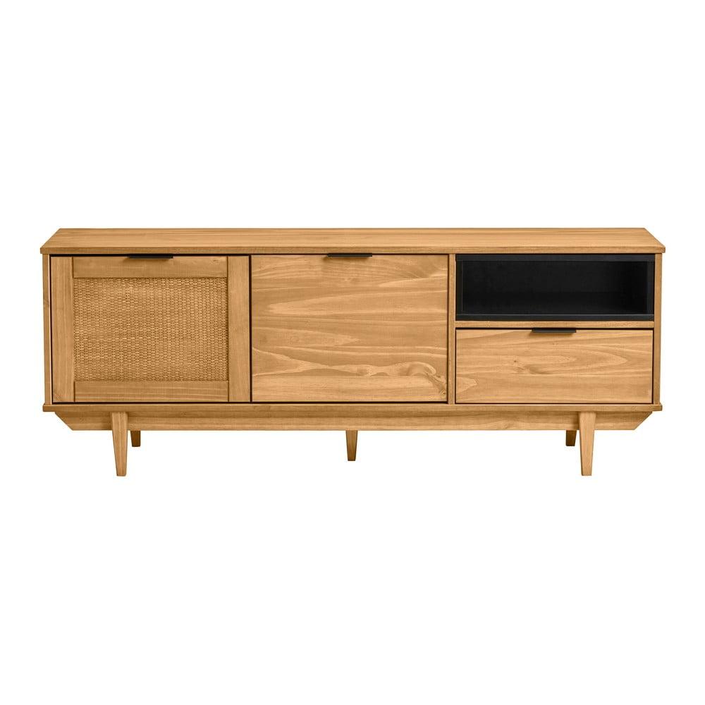 Brązowa szafka pod TV z drewna sosnowego z drzwiczkami z rattanu Marckeric Dakar, szer. 140,4 cm