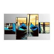 Czteroczęściowy obraz Blue Boat, 50x100 cm