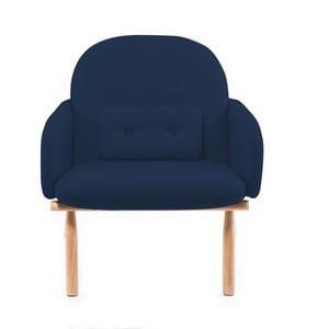Ciemnoniebieski fotel z nogami z drewna dębowego Harto Georges