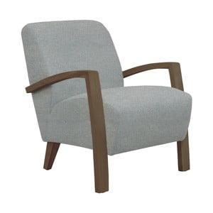 Jasnoszary fotel z ciemnymi podłokietnikami Helga Interiors Emilia