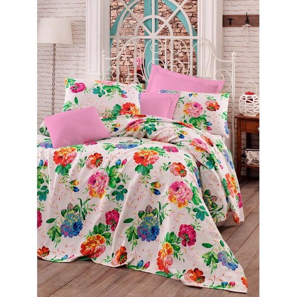 Zestaw: narzuta, prześcieradło i poszewka na poduszkę Love Colors Pink, 160 x 240 cm
