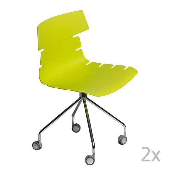 Zestaw 2 zielonych krzeseł D2 Techno Roll