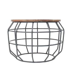 Ciemnoszary stolik z blatem z drewna mango LABEL51 Pixel, Ø 56 cm