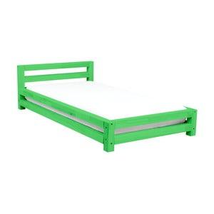 Zielone jednoosobowe łóżko dziecięce z drewna sosnowego Benlemi Single,80x160cm