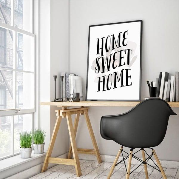 Plakat w drewnianej ramie Home sweet home, 38x28 cm