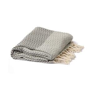 Szaro-czarny ręcznik hammam Spa Time Zig, 95x180cm