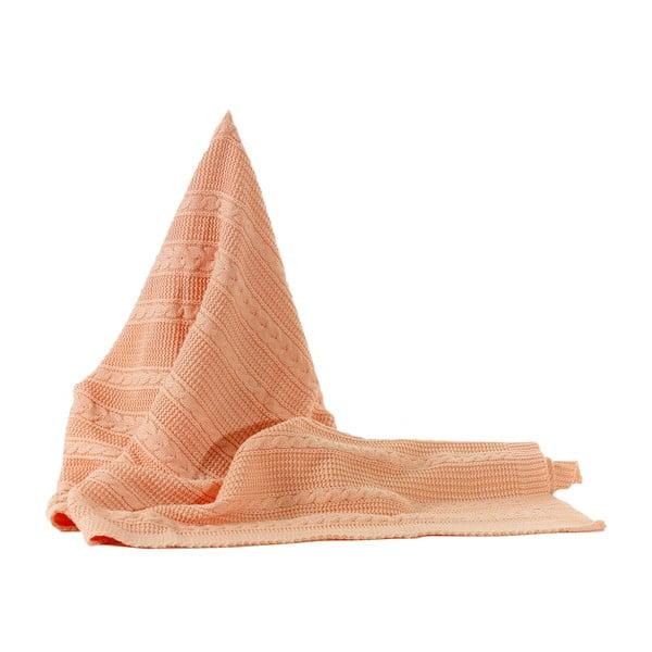 Dziergany koc Peach, 130x170 cm