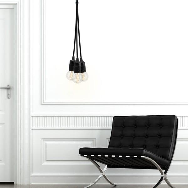 Czarna trzyramienna lampa wisząca Bulb Attack Uno Group