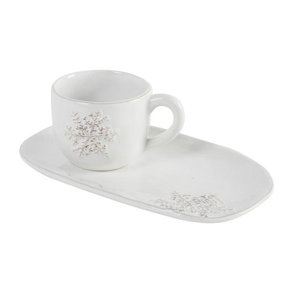 Filiżanka na kawę z długim spodkiem Athezza Snowflake, 20 cm