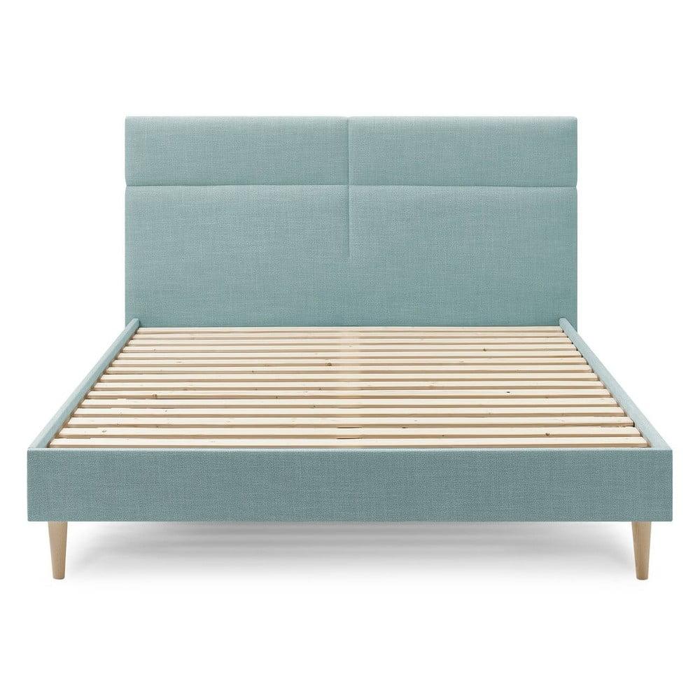 Turkusowe łóżko dwuosobowe Bobochic Paris Elyna Light, 160x200 cm